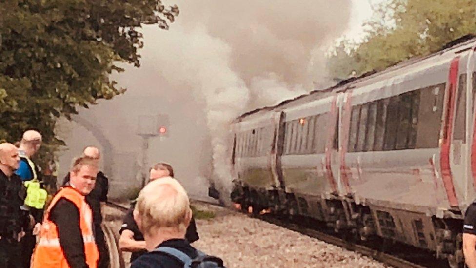 Smoke coming from train
