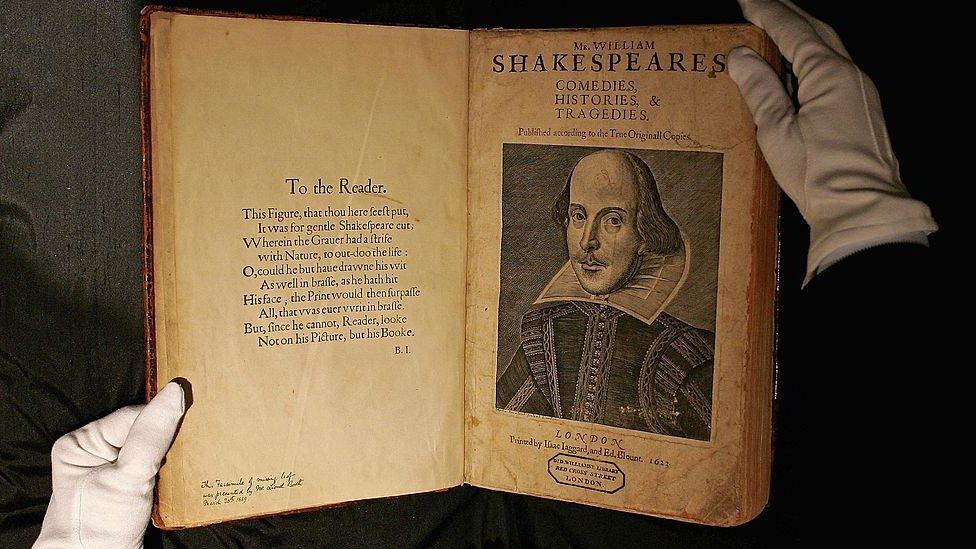 Copia del primer folio de William Shakespeare.