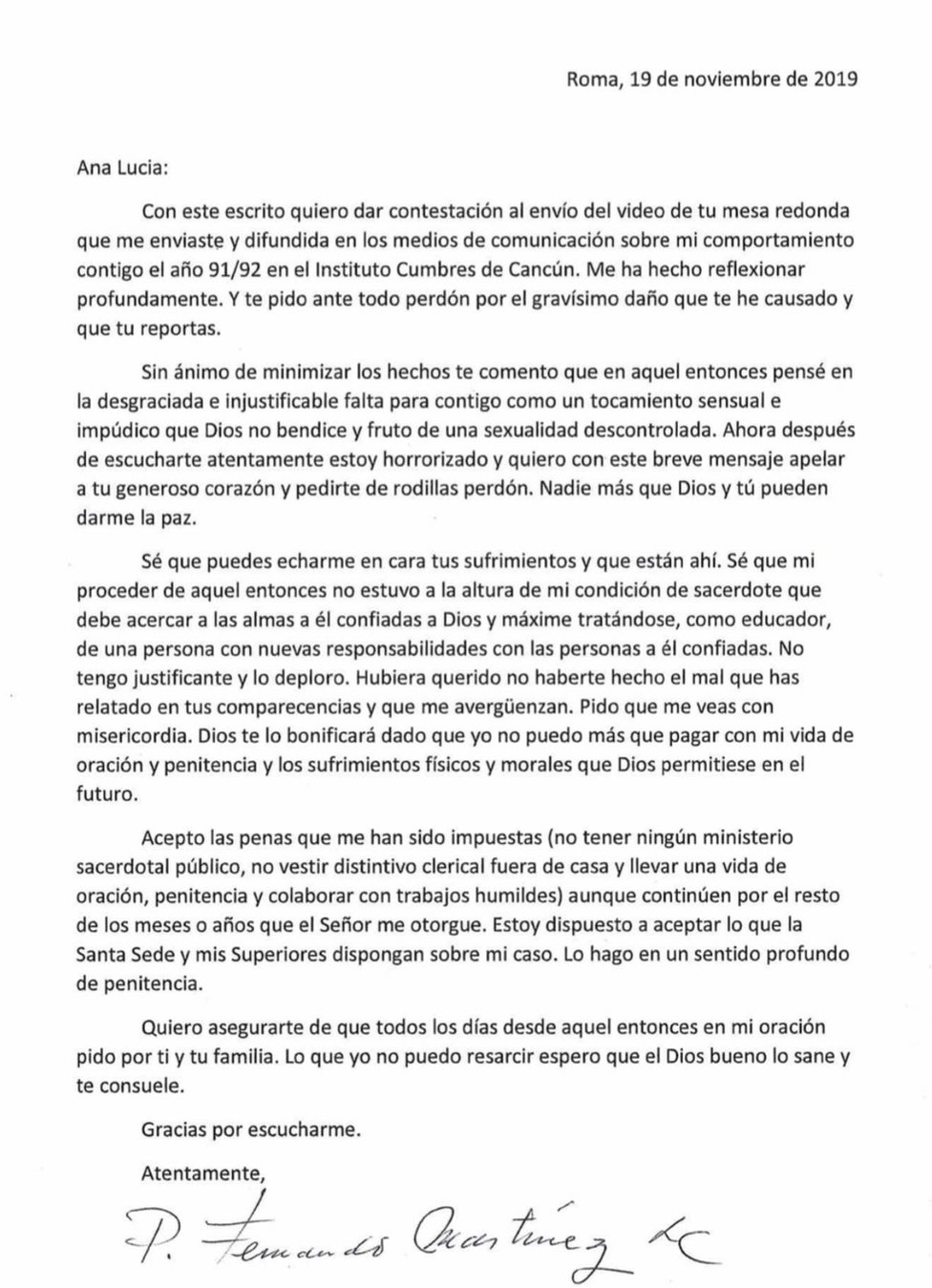 Carta de Fernando Martínez pidiendo perdón a Ana Lucía Salazar.