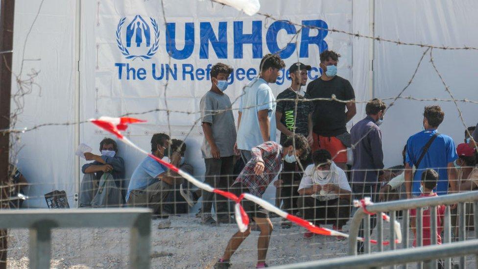 A temporary Refugee Camp in Kara Tepe on Lesbos in September 2020