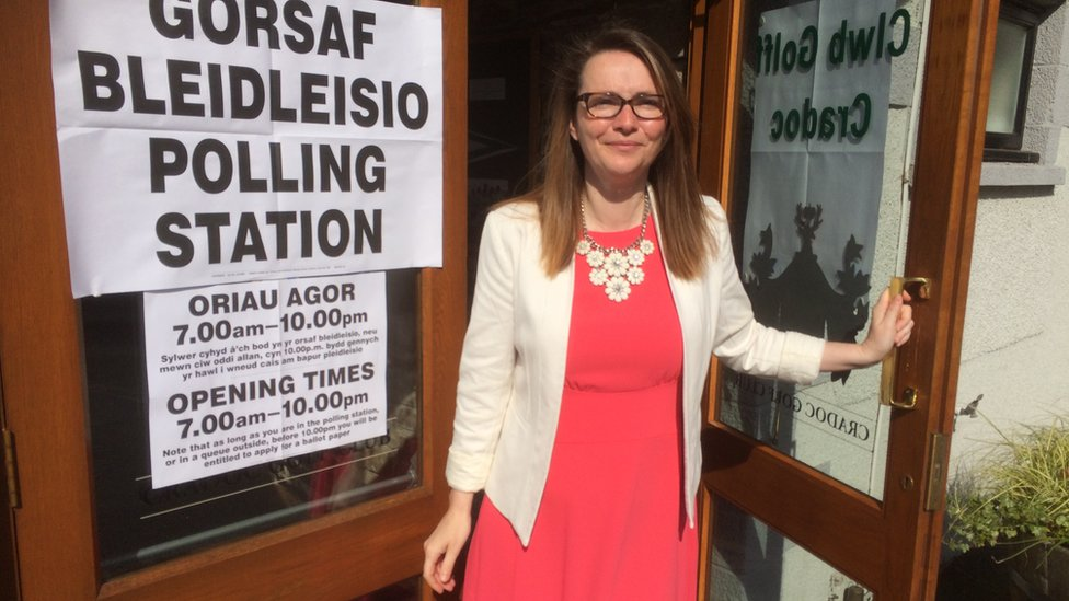 Welsh Liberal Democrat leader Kirsty Williams voted at the polling station in Brecon