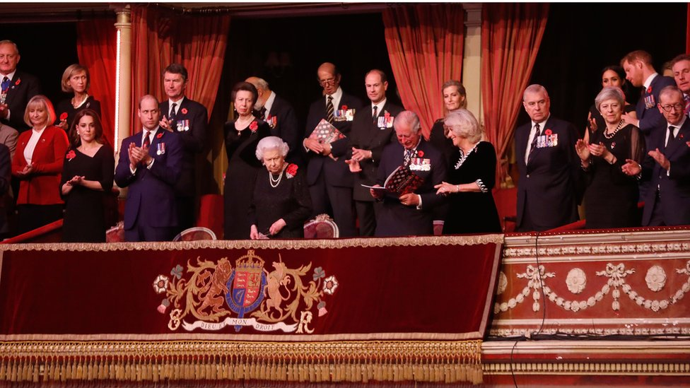 Members of the royal family and Prime Minister Theresa May at the concert
