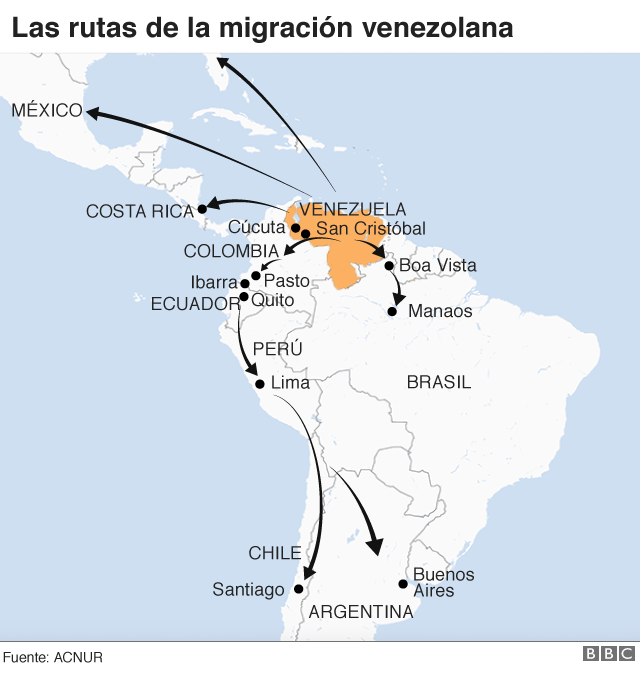 Rutas de la migración venezolana