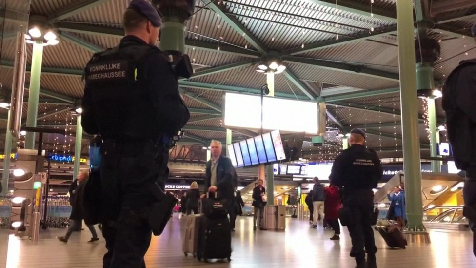Dutch military police seen inside of airport