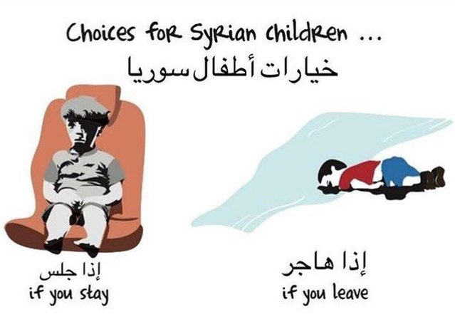 Cartoon comparing fate of Alan Kurdi who left Syria to Omran Daqneesh who stayed