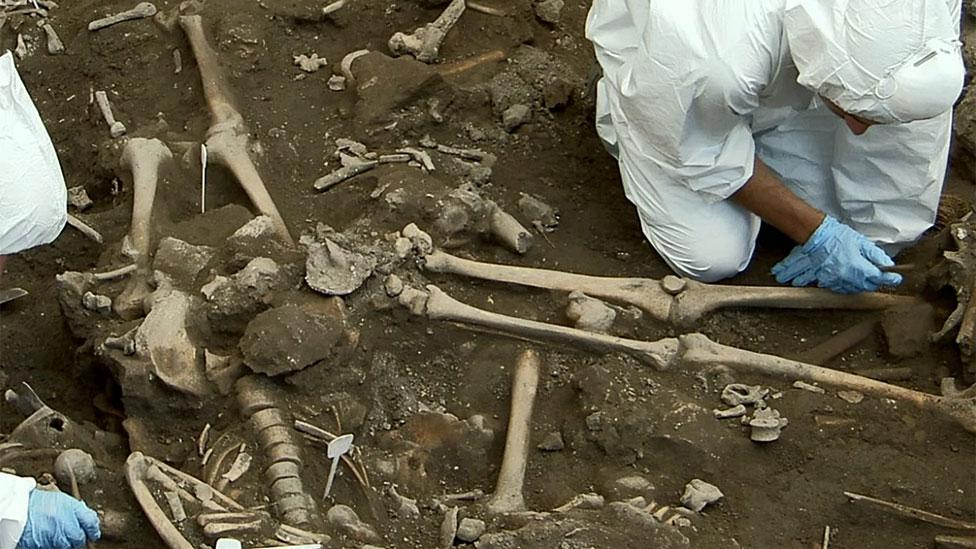 Arqueólogos examinando huesos