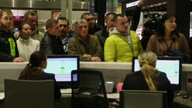 Relatives waiting for news at St Petersburg Airport
