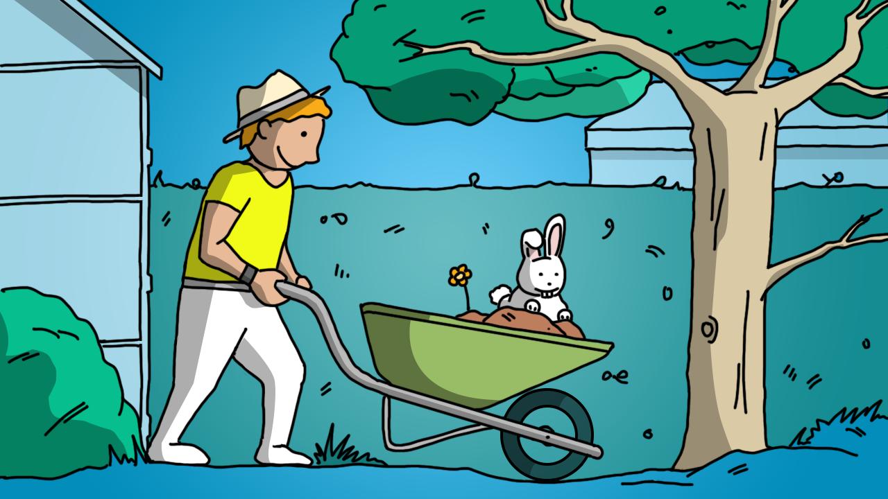 Ilustración de un hombre con su carretilla en el jardín