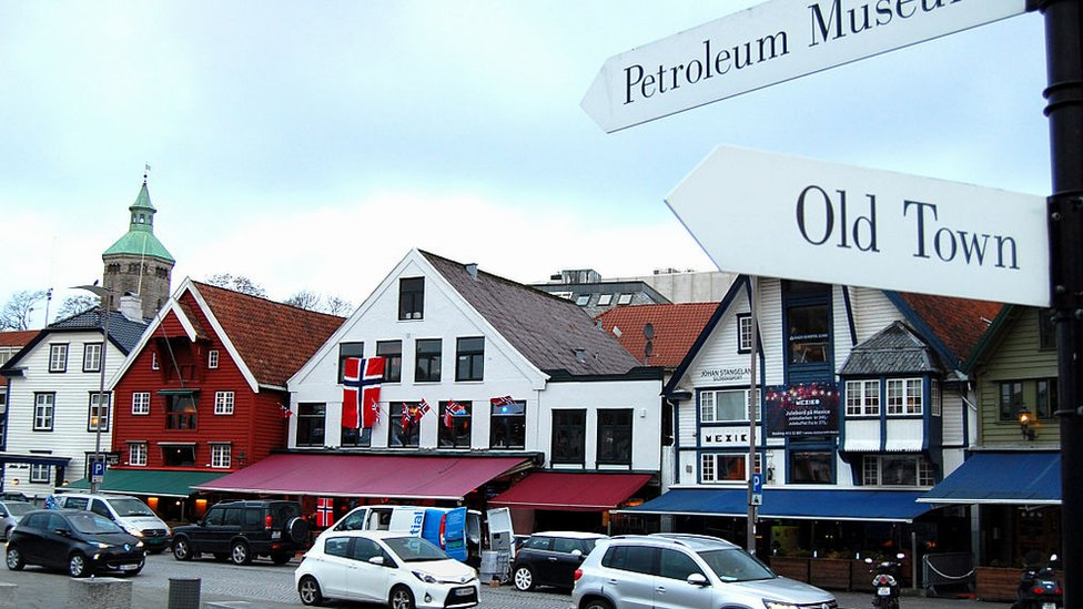 A sign points to the petroleum museum on the waterfront in the centre of Stavanger on November 12, 2015