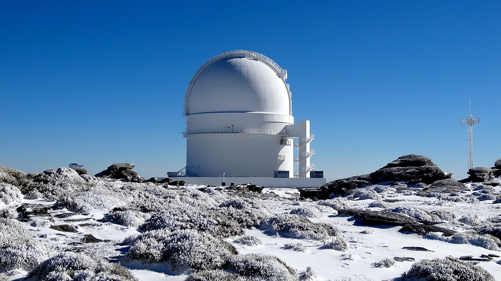 Exterior photography of the Spanish Observatory at Calar Alto, Andalusia.