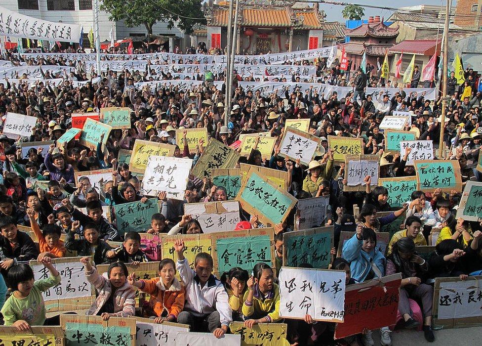 Protestas en Wukan en 2011.