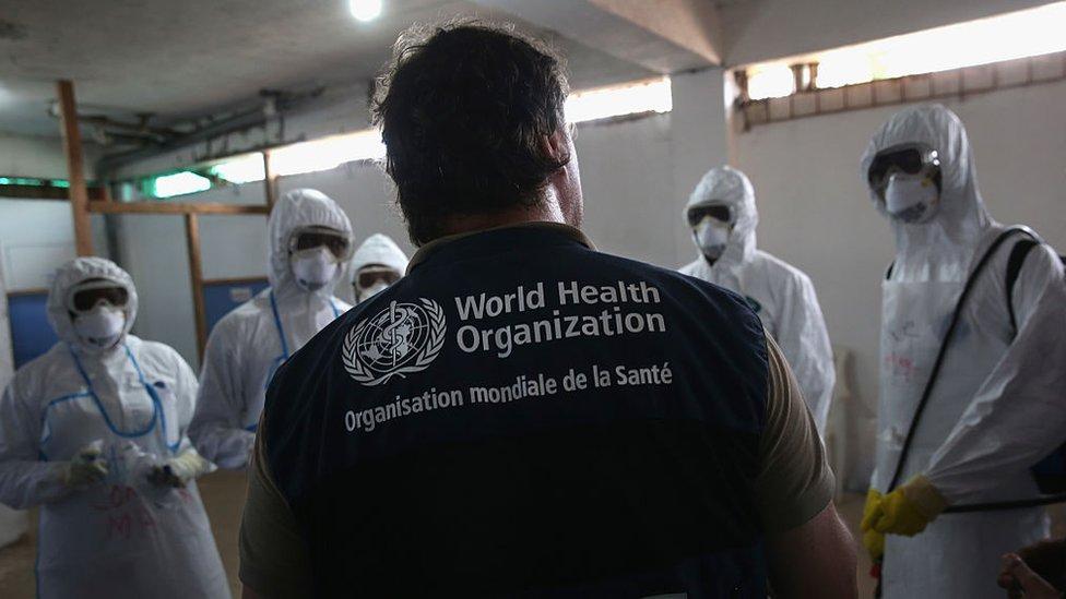 Un técnico de la OMS da entrenamiento a un grupo de médicos en Liberia.