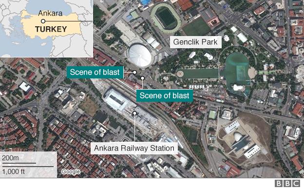 Map showing Ankara attacks