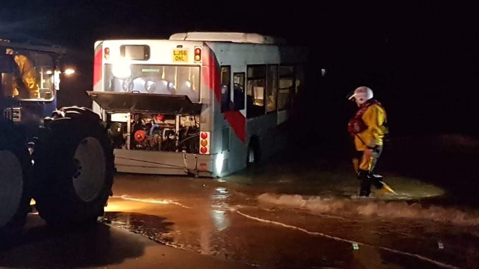 Stolen bus found in sea at Cleethorpes