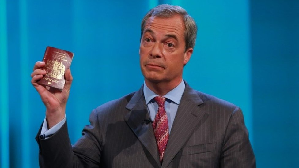 Nigel Farage during the 2016 EU referendum campaign
