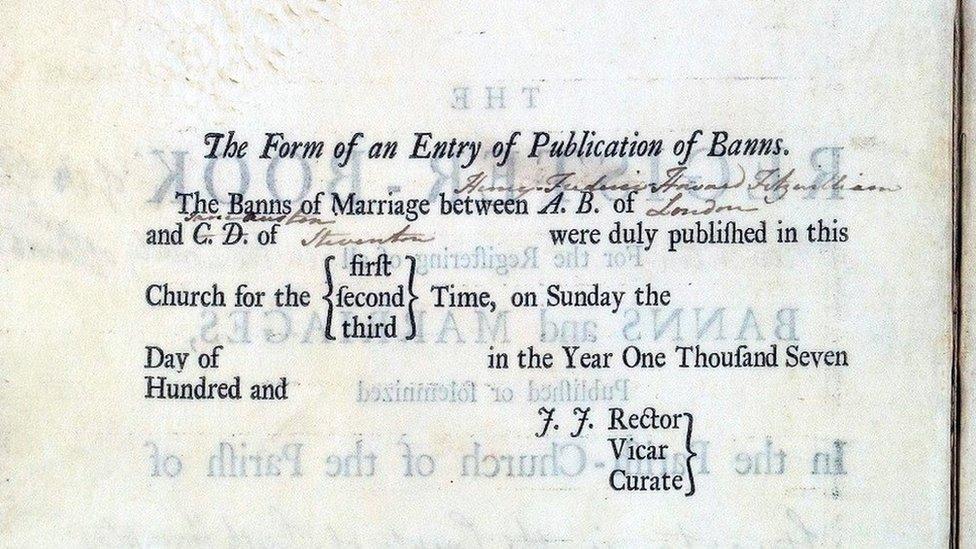 Marriage register entry written by Jane Austen