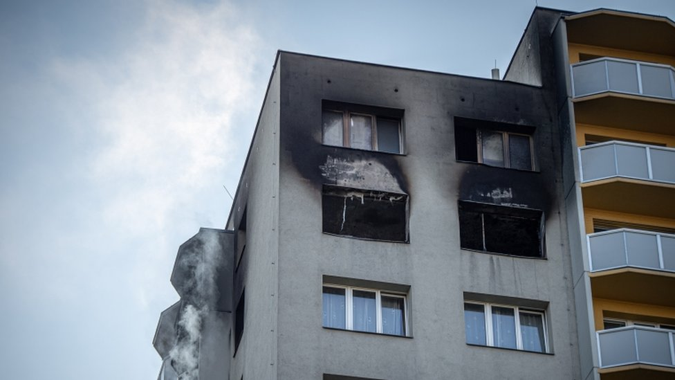 Scene of a fire at a block of flats in Bohumin, Czech Republic