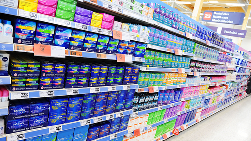 Sanitary products in the supermarket