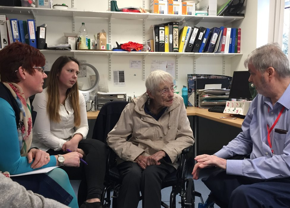 Anna, Rita and John in March, discussing the future with a representative of the county council