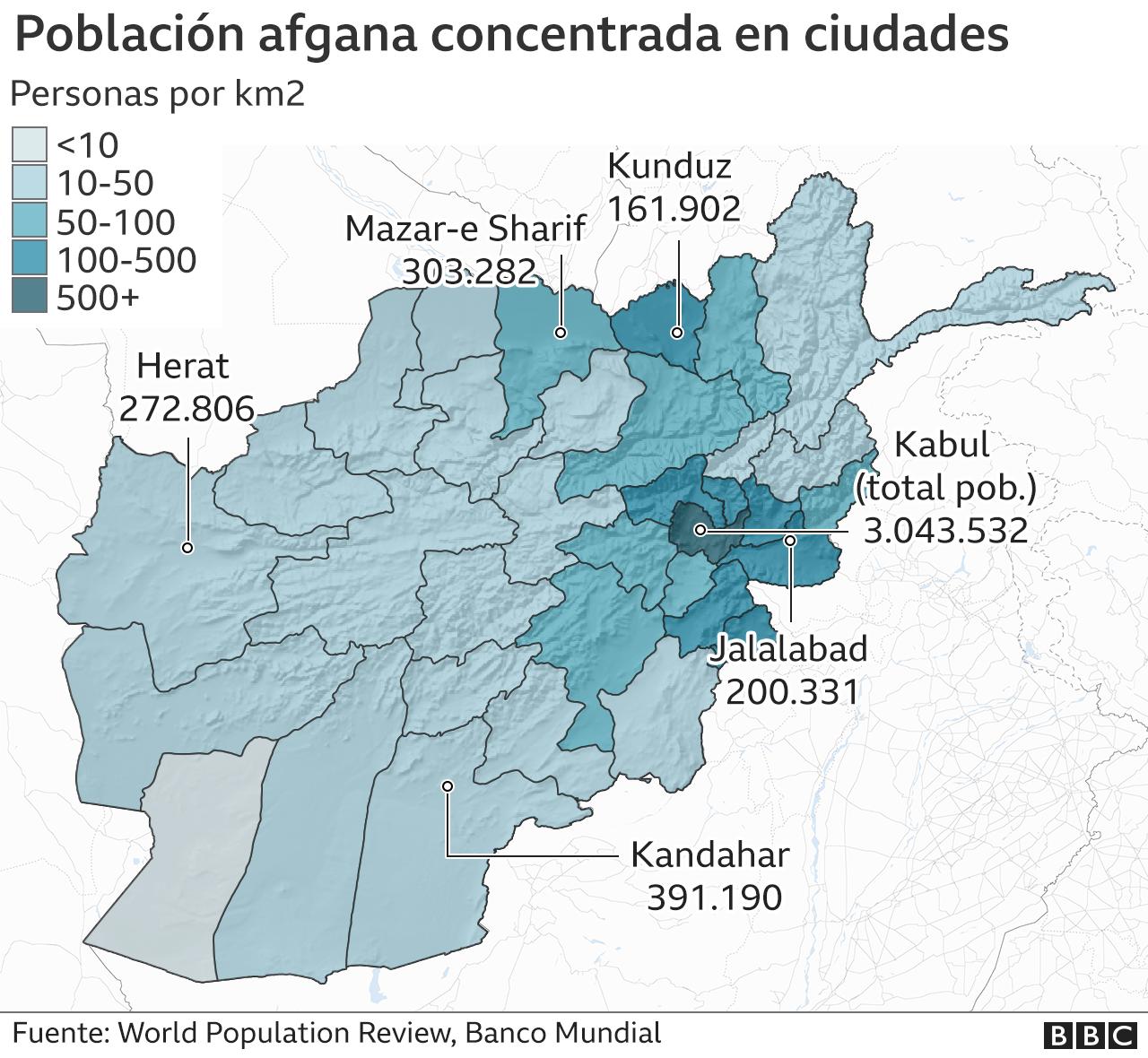 Mapa poblacion afgana