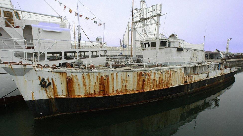 A rusting Calypso in La Rochelle harbour, France