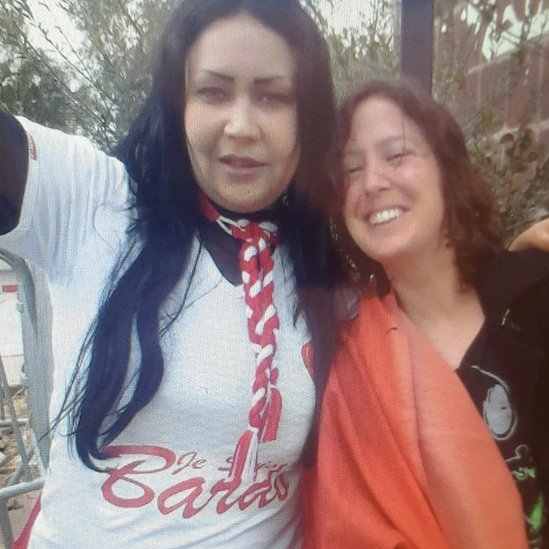Ines Ghaieb wearing a shirt that reads 'Je suis Bardo' at a protest in Tunis