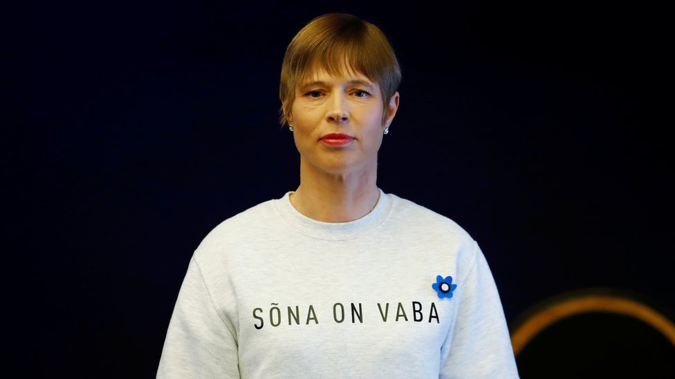 Estonian President Kersti Kaljulaid attends the swearing-in of the incoming coalition government in Tallinn, Estonia April 29, 2019.
