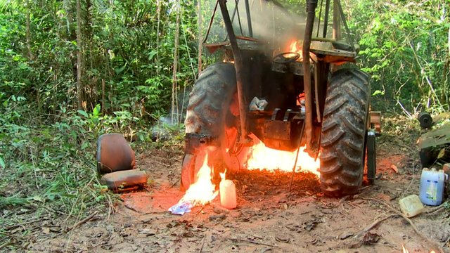 Tractor on fire