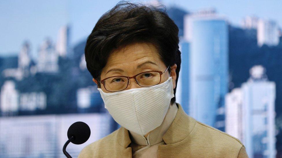 林鄭月娥在香港政府總部會見記者(11/11/2020)