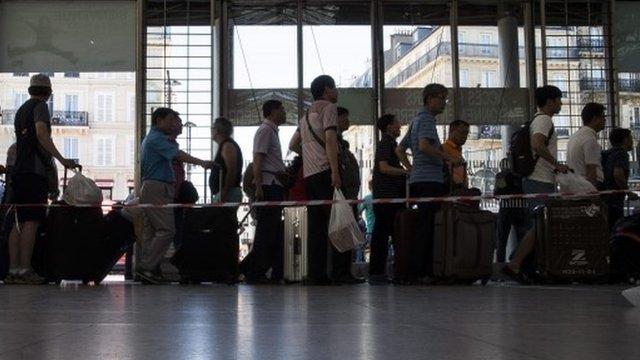 Queue of people at Eurostar terminal