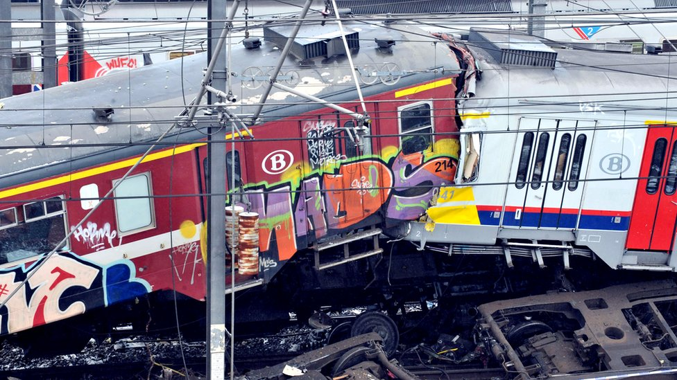 The two commuter trains that collided head-on in snowy conditions in Halle, near Brussels, Belgium, 15 February 2010