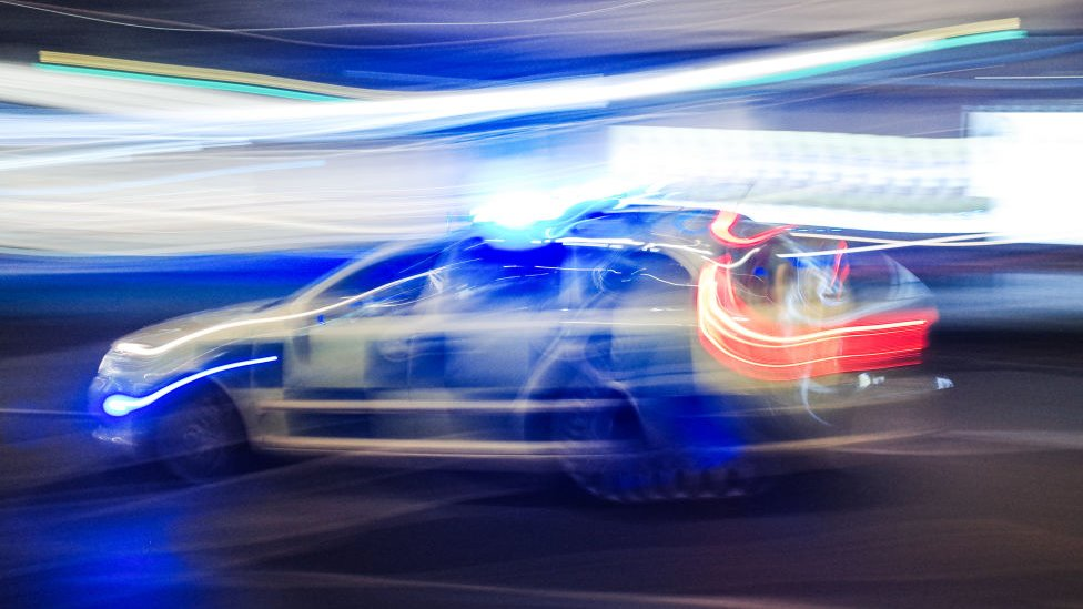 police car blurred