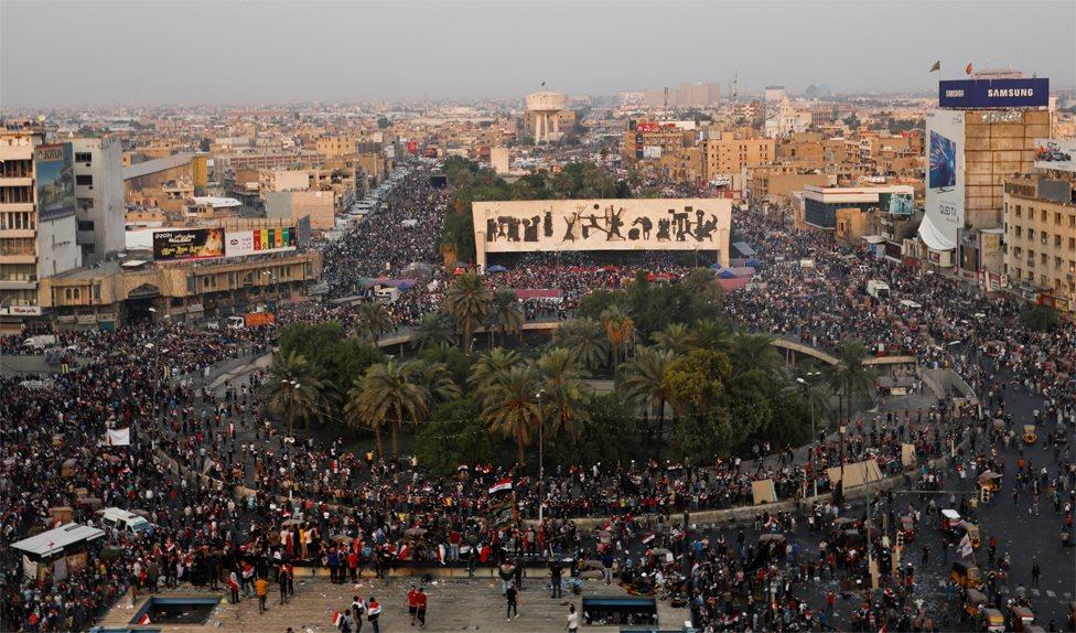 Protesters inside Tahrir Square, Baghdad (28 October 2019)