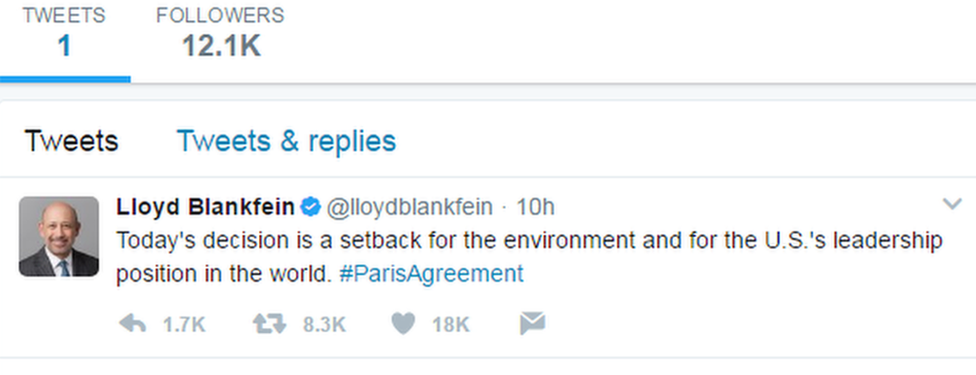 A tweet from Lloyd Blankfein, Goldman Sachs boss
