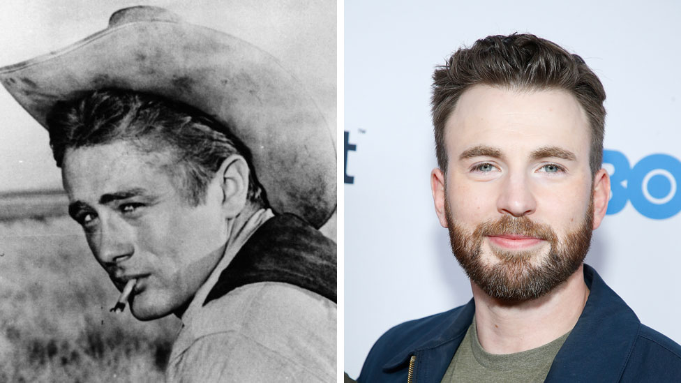 James Dean in Giant and Chris Evans