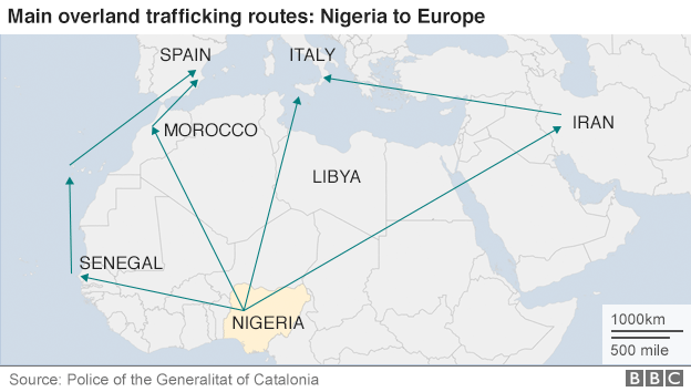 Map showing main land human trafficking routes from Nigeria