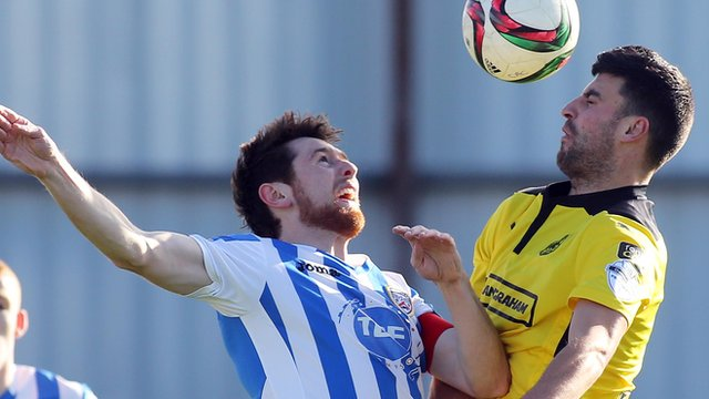 Action from Coleraine against Cliftonville at Ballycastle Road.