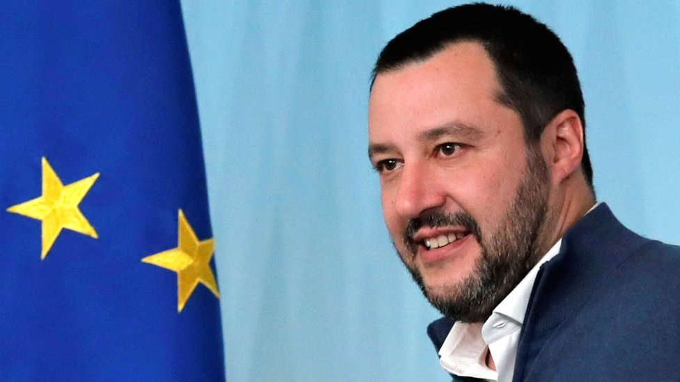 Matteo Salvini attends a news conference in Rome