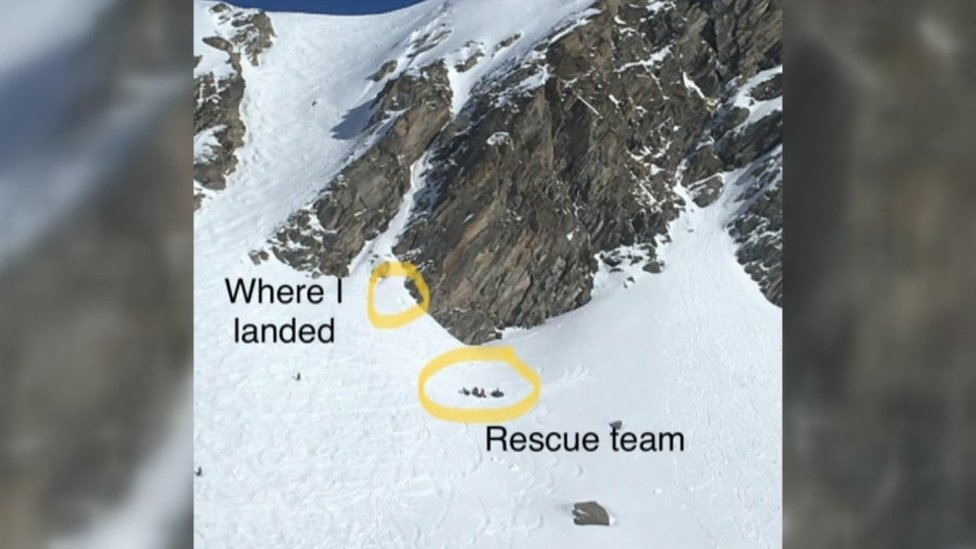 Loz Ball fell more than 50m off a cliff while snowboarding in the French Alps in February