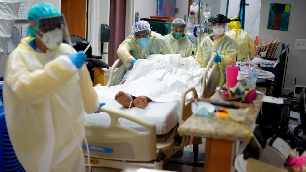 Doctors in Houston, Texas treat a seriously ill coronavirus patient