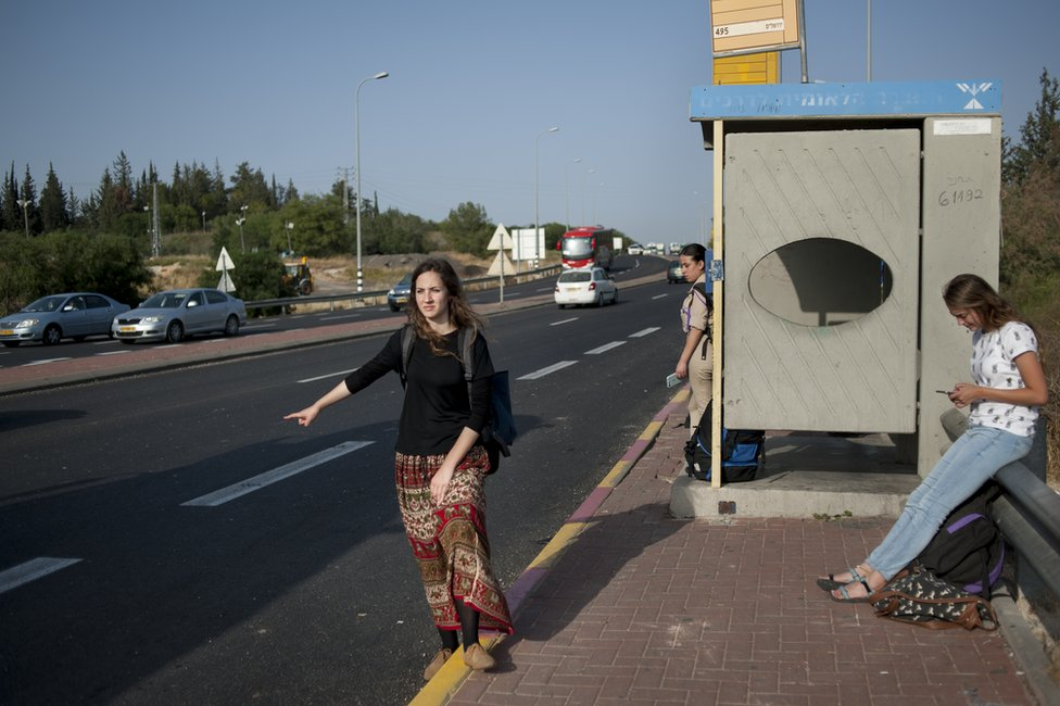 A hitchhiker in the West Bank