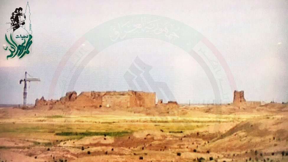 Photo published by Popular Mobilisation media office purportedly showing ancient city of Hatra on 26 April 2017