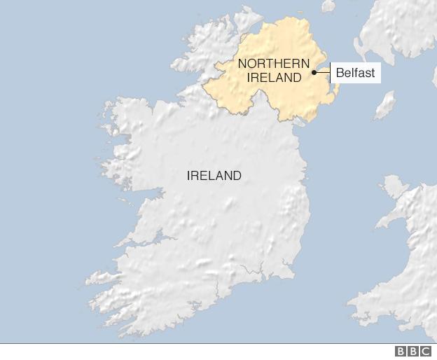 Map showing border between N Ireland and Ireland