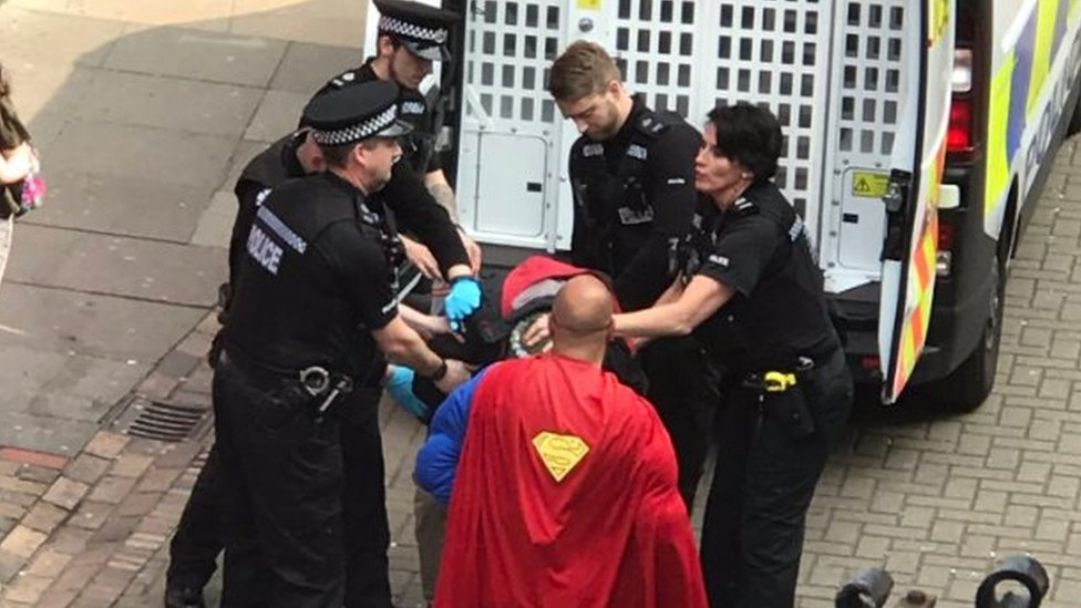 'Superman' on hand as Norwich police make arrest