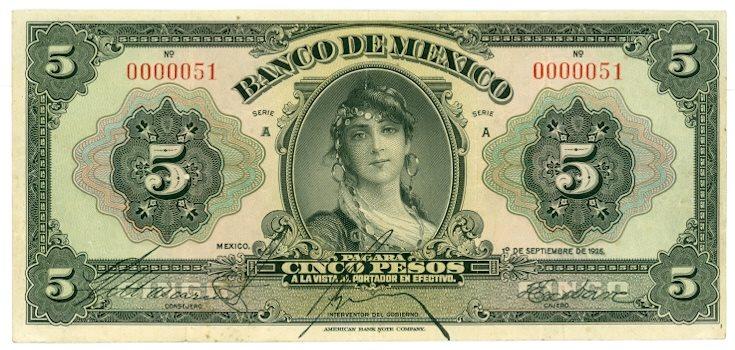 Un billete de 5 pesos del Banco de México de 1925