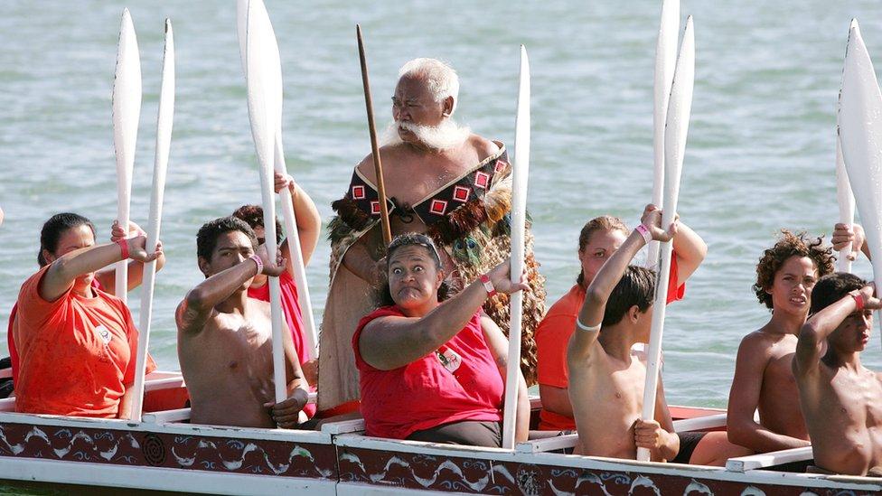 Maori canoe paddlers on Waitangi Day