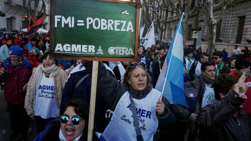 Protesta en Argentina.