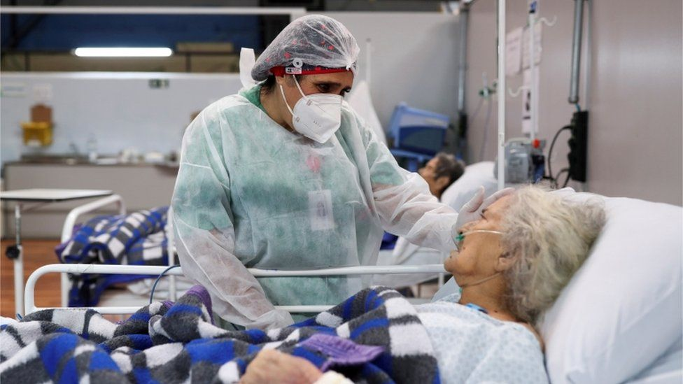 Una paciente en un hospital