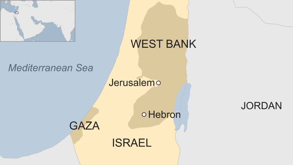 A map showing where Hebron is in the West Bank