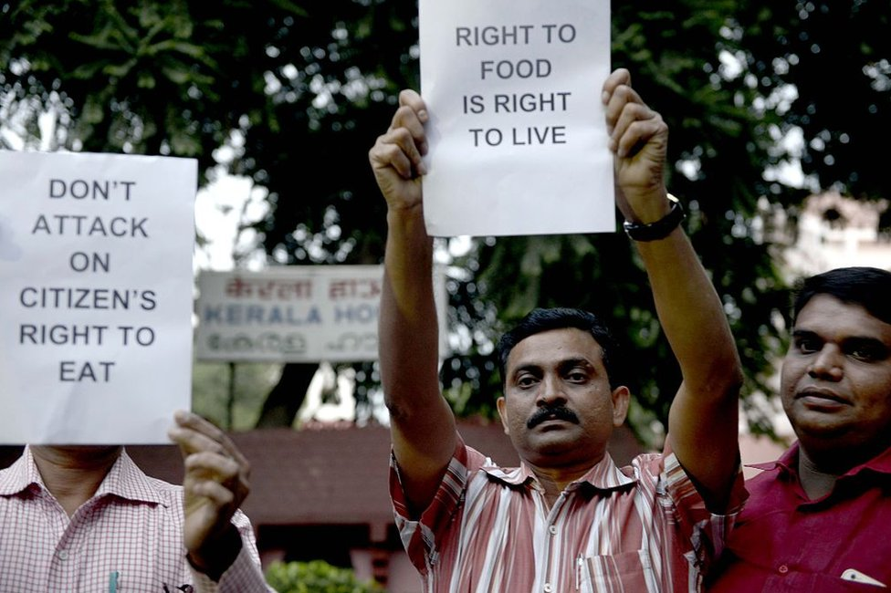 Citizen Rights Foundation Members Protest against BJP Goverment and Prime Minister Narendra Modi for Intervention on attack on Citizen Right to Eat, 2015